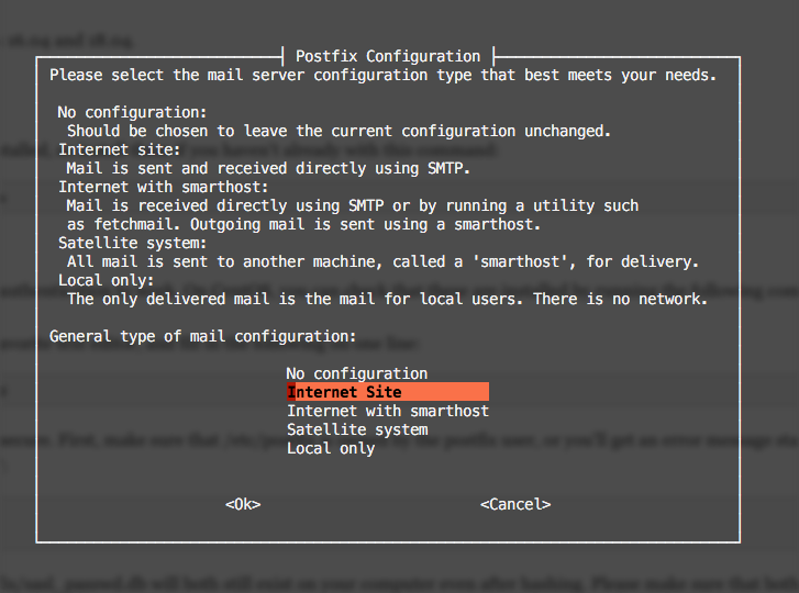 Postfix configuration screen